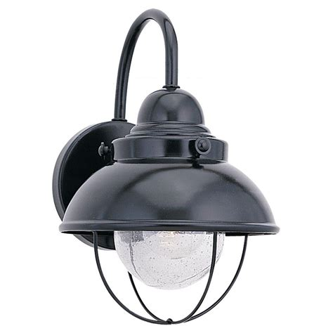 home depot exterior light fixtures sea gull lighting sebring 1 light black outdoor wall fixture 8870 12 the home depot