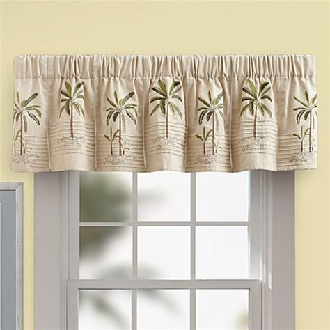 Palm Tree Kitchen Curtains Palm Tree Valance In Ivory Bed Bath Beyond