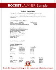 financial affidavit affidavit of financial support form