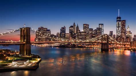 manhattan night in new york city 4k wallpapers images manhattan new york city usa brooklyn bridge bridges