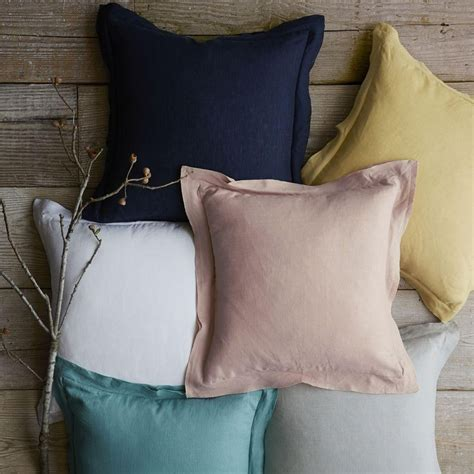 Cushion Cover Blush Navy Series belgian flax linen cushion cover navy blush and mustard