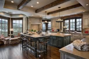 Distressed kitchen cabinets in kitchen rustic with dark wood floor