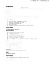 Resume Template For Nanny Resume For A Nanny Best Resume Exle