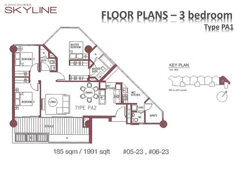 podium floor plan podium 3 bedroom concourse skyline
