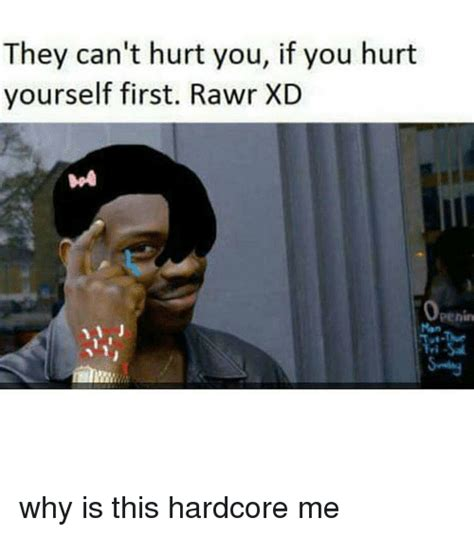 Rawr Xd Memes - they can t hurt you if you hurt yourself first rawr xd why is this hardcore me meme on sizzle