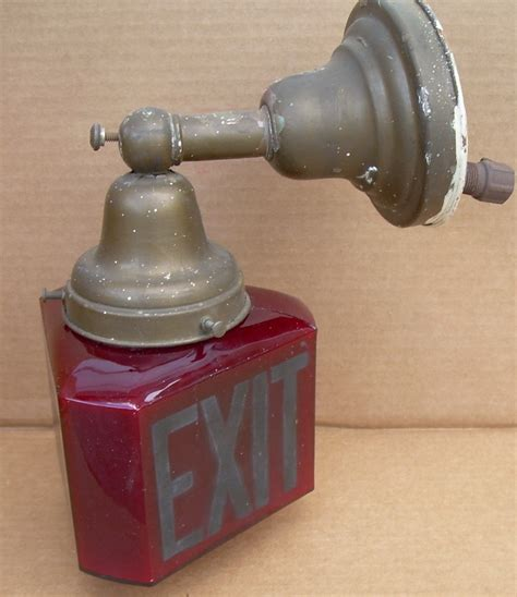 Antique Exit Light Fixture Antique Ruby Exit Light Sign 6 Sided Triangle Shade Theater