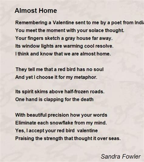 Almost Home Book Report by Almost Home Poem By Fowler Poem Comments