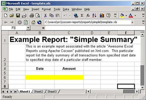 Statistics Report Template Excel