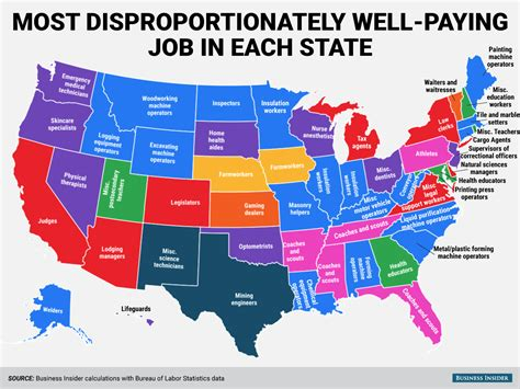 best states to work in high paying jobs state map business insider
