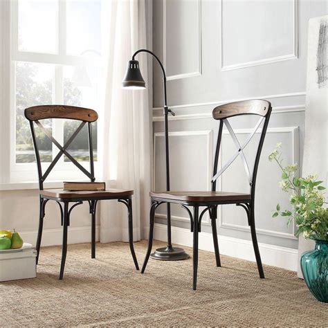 Wood And Metal Dining Chair Homesullivan Cabela Distressed Ash Wood And Metal Dining Chair Set Of 2 405099s2pc The Home