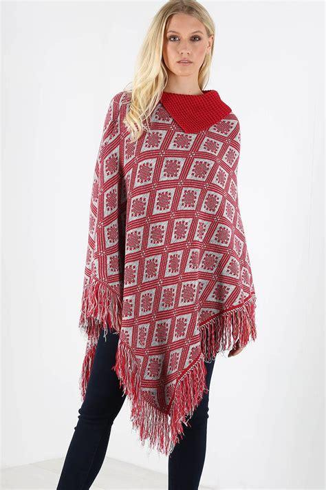 womens knit poncho womens asymmetric knit tassel poncho shawl