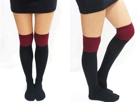 knitted thigh high socks two tone knitted thigh high socks burgundy black on luulla