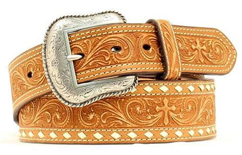nocona western belt mens leather cross tapered brown