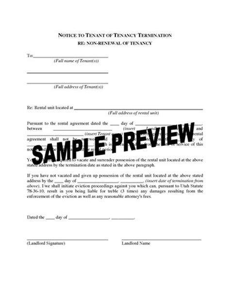 Illinois Non Renewal Lease Letter Utah Notice To Tenant Of Tenancy Termination For Non Renewal Of Tenancy Forms And