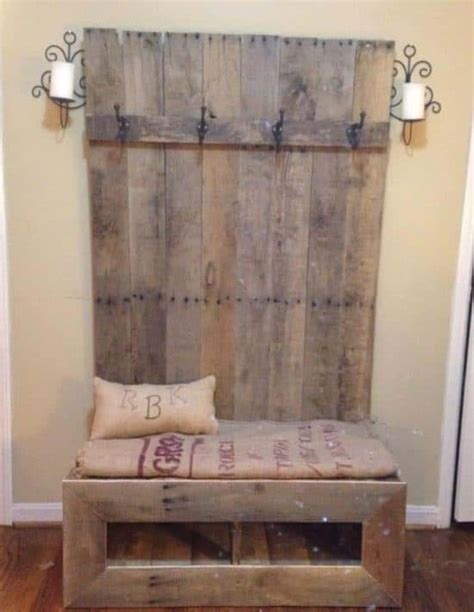 pallet bench with storage and shoe rack coat rack bench pallet shoe rack instructions easy video tutorial and plans