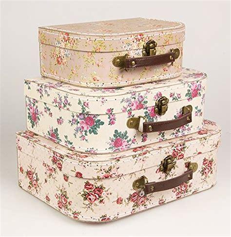 shabby koffer set of 3 vintage suitcases storage boxes shabbychic