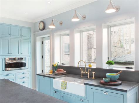 Light Blue Kitchen Farmhouses Kitchen Traditional With Classic Kitchen Concrete Counter Classic Kitchen