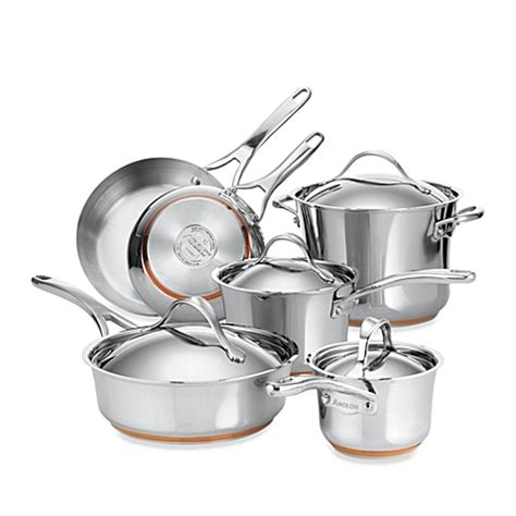 bed bath and beyond cookware anolon 174 nouvelle copper stainless steel 10 piece cookware