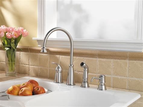 pfister avalon  handle  hole high arc kitchen faucet wside spray soap dispenser
