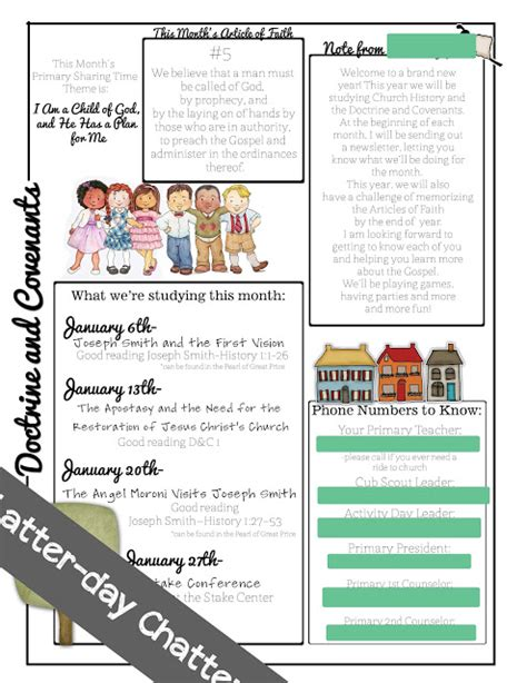 primary school newsletter templates latter day chatter primary class newsletters