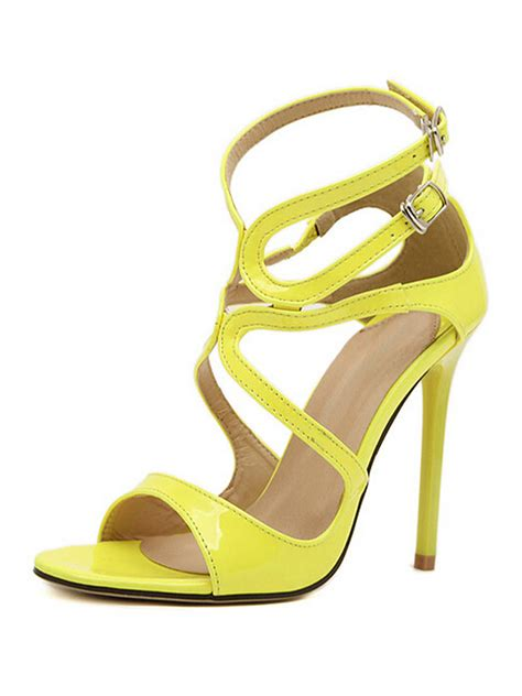 yellow heeled sandals yellow strappy cut out heeled sandals choies