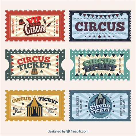 printable circus tickets circus tickets in retro style vector free download
