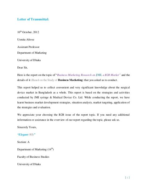 Transmittal Letter For Research Report On Business Marketing Research On Jmi A B2b Market