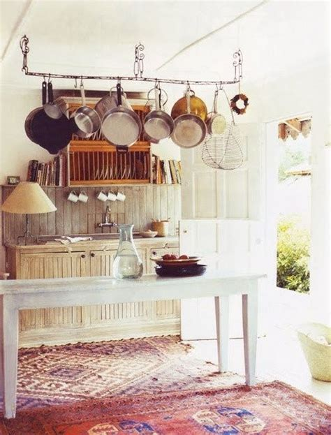 Rustic Kitchen Rugs Rustic Kitchen With Hanging Pots And Rugs Country Kitchen Interiors Dreamhome