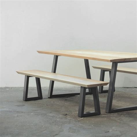 table with benches set wood and steel dining table and bench set by heather scott