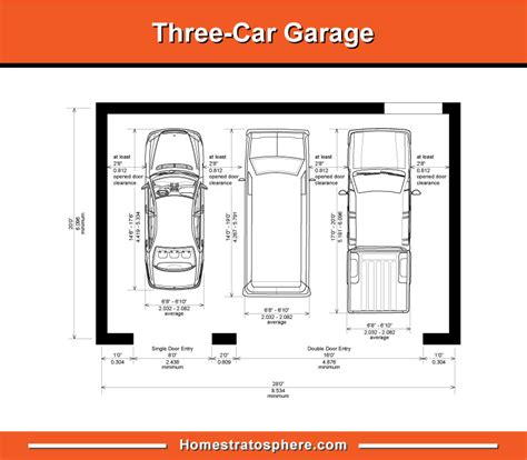 3 Car Garage Size
