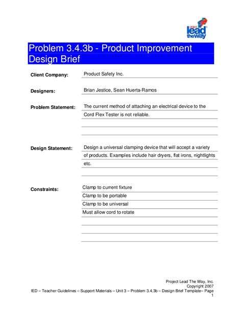 design brief exle pltw design brief