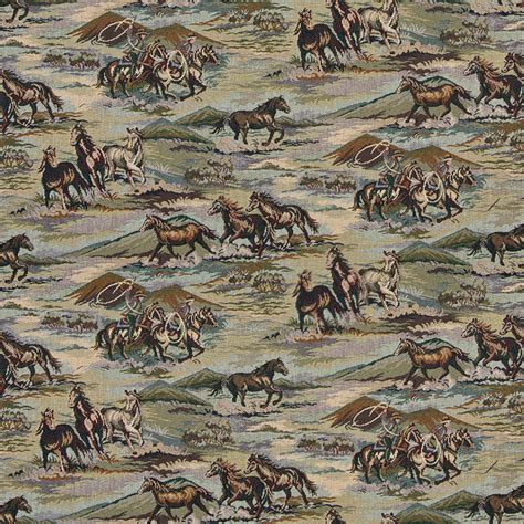 wildlife upholstery fabric horses grasslands cowboys lassoes themed tapestry