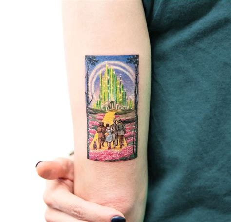 wizard of oz tattoo designs the wizard of oz miniature on s arm