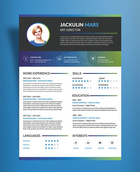 beautiful resume cv design template free psd file good