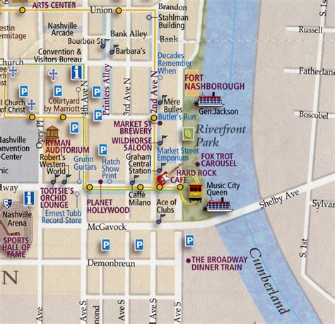 downtown nashville map map of downtown nashville with attractions swimnova