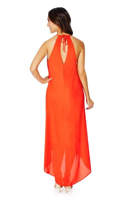 front cutout maxi dress in coral get great deals at justfab