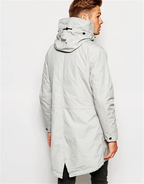 Premium Parka Light Grey selected elected homme premium parka with removable bomber