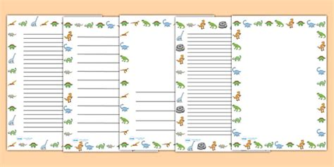 lined paper with dinosaur border dinosaurs page borders dinosaur page border a4 border