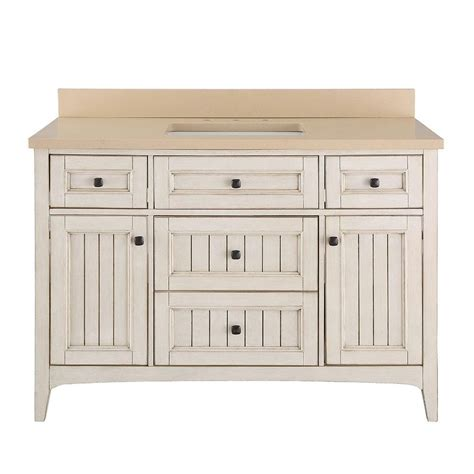 White Vanity Tops by Home Decorators Collection Klein 49 In Vanity In Antique White With Quartz Vanity Top In Beige