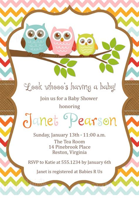 owl themed baby shower invitation template owl baby shower invitations etsy baby shower s ideas