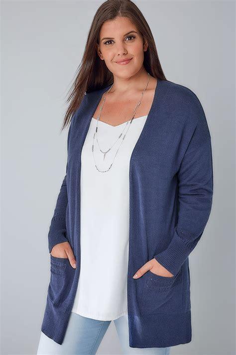 Special Cardi Basic 3tone Pink Cardigan 0109 denim blue longline cardigan with pointelle pocket cuff detail plus size 16 to 36