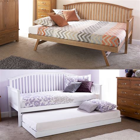 Single Bed Frame With Trundle Madrid Wooden 3ft Single Day Bed Frame Trundle Guest Bedstead Oak White Ebay