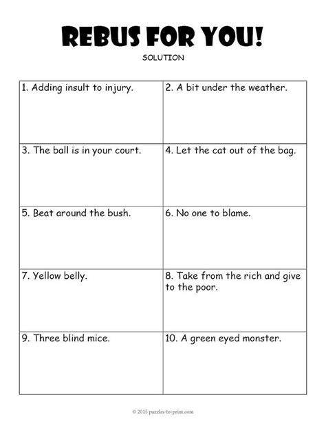 Rebus Puzzles For Worksheet by Rebus Worksheet 3