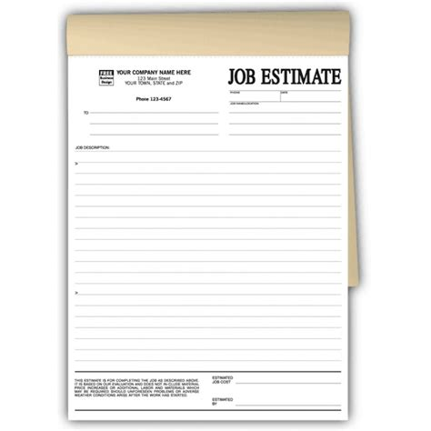 written estimate template duplicate estimate forms in books free shipping
