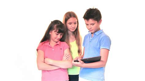 soap two girls and one boy and boy hugging and smiling in studio stock footage 8470456