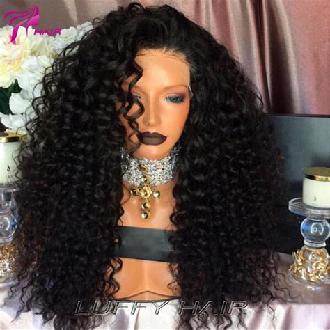 long black curly human hair wig mongolian afro kinky curly lace front human hair wigs for