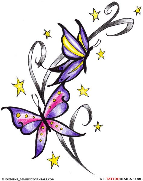 butterfly with stars tattoo designs 60 butterfly tattoos feminine and tribal butterfly