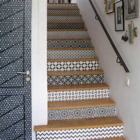 stair decor adding beautiful wallpapers to stairs risers for original
