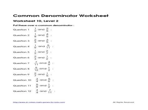 Common Worksheet Answers by Least Common Denominator Worksheets Finding Common