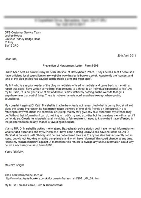 letter of harassment complaint template bexley complaint to directorate of professional